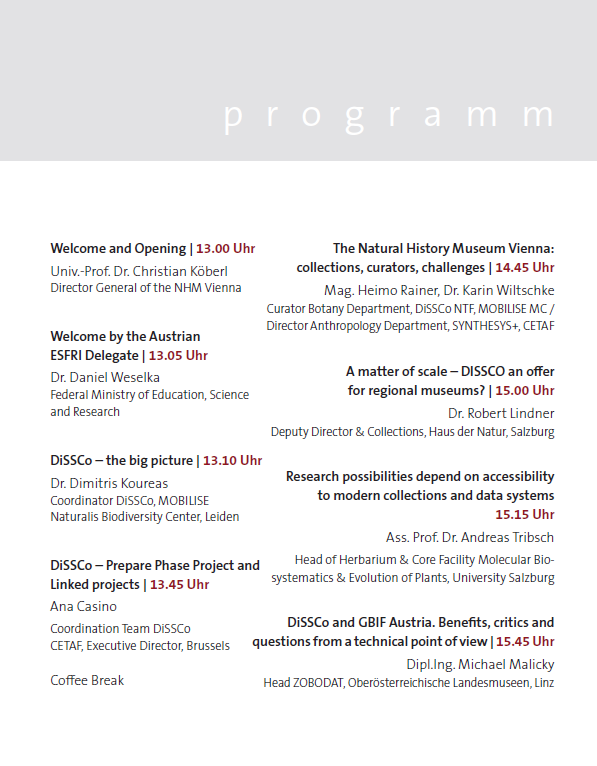 Programme of the DiSSC oAustria Information Day